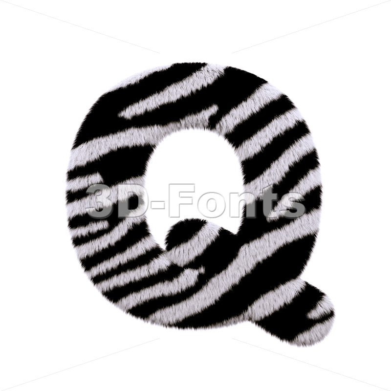 3d Upper-case font Q covered in zebra texture - 3d-fonts