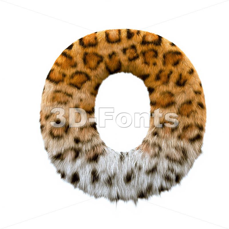 3d Upper-case letter O covered in jaguar texture - 3d-fonts