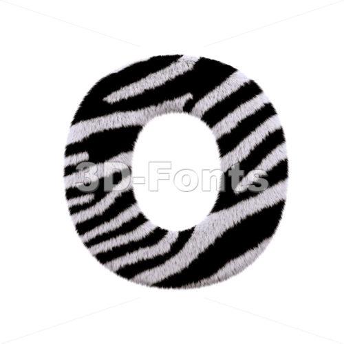3d Upper-case letter O covered in zebra fur texture - 3d-fonts
