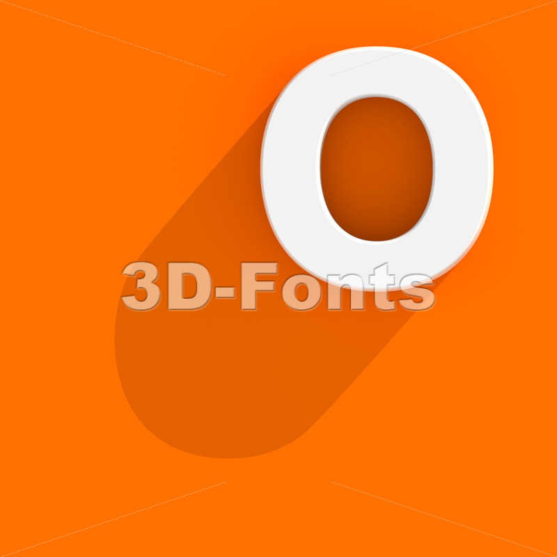 3d Upper-case letter O with Flat design style - 3d-fonts