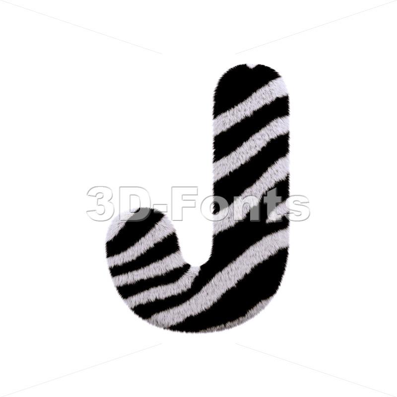 3d Uppercase font J covered in zebra coat texture - 3d-fonts