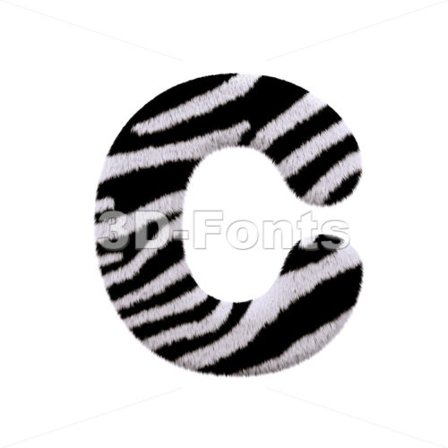 3d zebra fur font C - Capital 3d letter - 3d-fonts