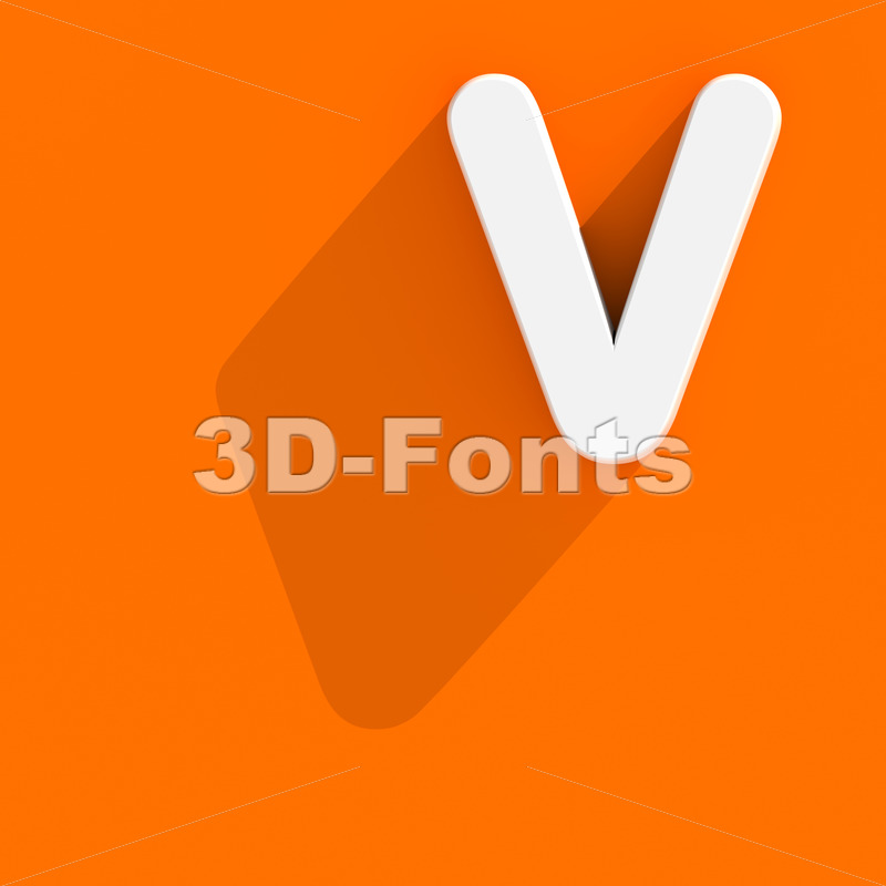 Capital Flat design letter V - Upper-case 3d character - 3d-fonts