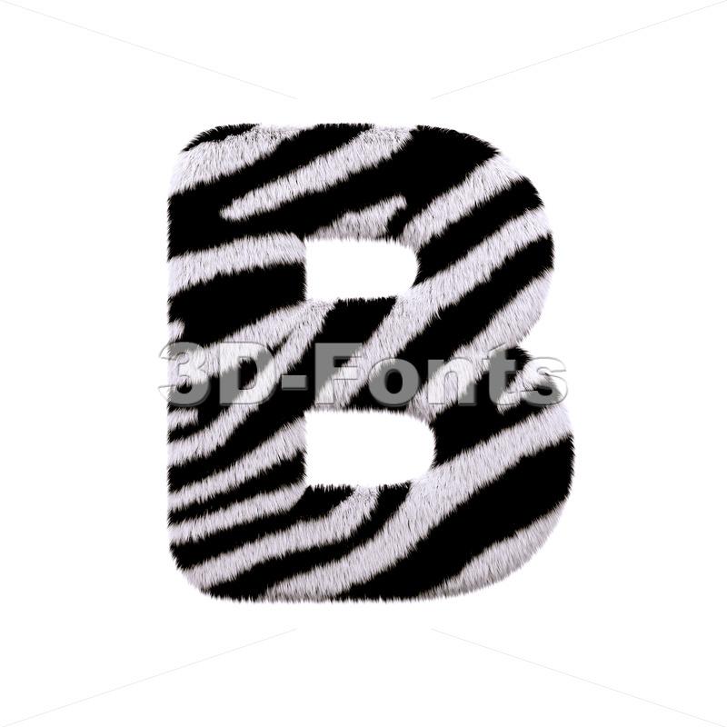 Capital zebra coat letter B - Upper-case 3d font - 3d-fonts