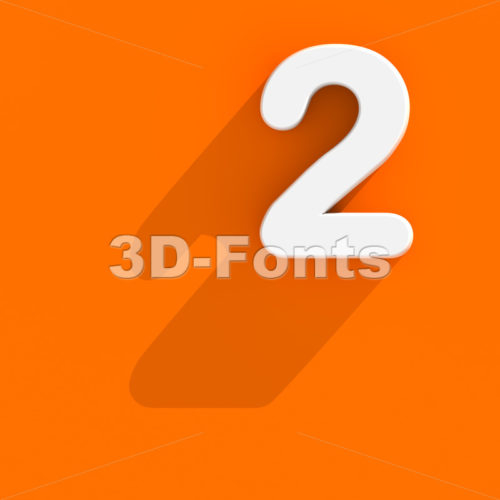Flat design digit 2 - 3d number - 3d-fonts