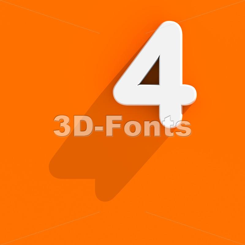 Flat design digit 4 - 3d number - 3d-fonts