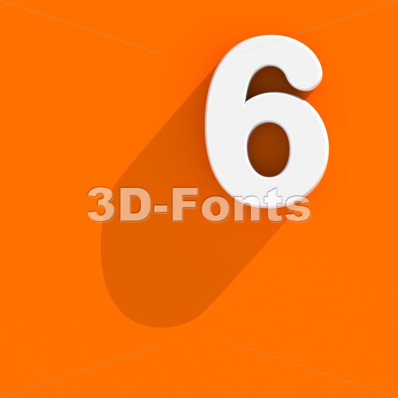 Flat design digit 6 - 3d number - 3d-fonts