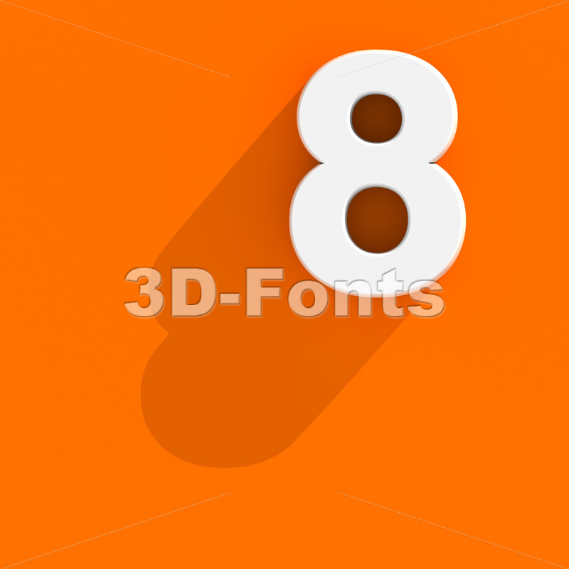 Flat design digit 8 - 3d number - 3d-fonts