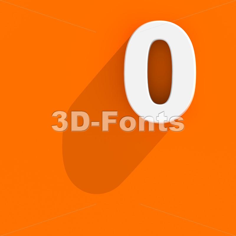 Flat design number 0 - 3d digit - 3d-fonts