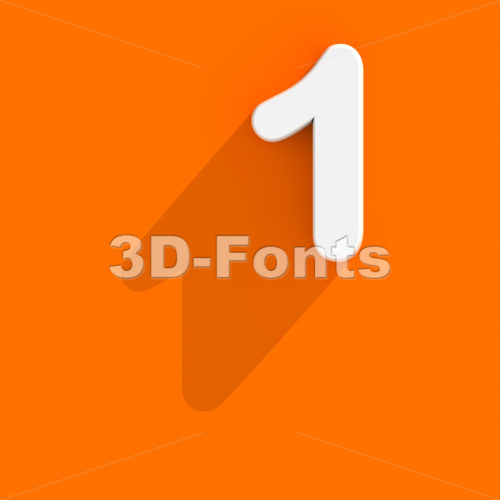Flat design number 1 - 3d digit - 3d-fonts