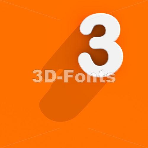 Flat design number 3 - 3d digit - 3d-fonts