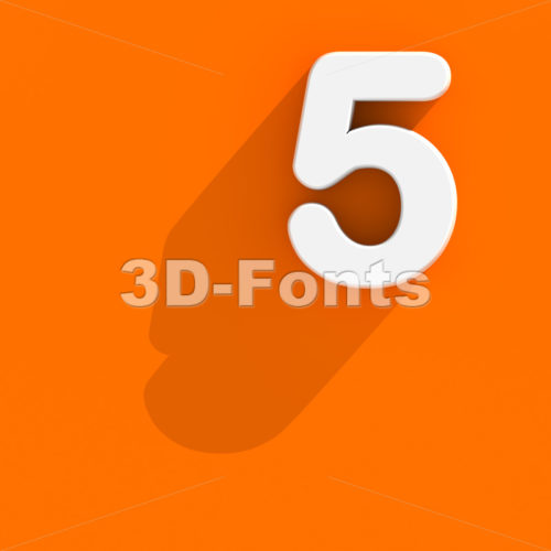 Flat design number 5 - 3d digit - 3d-fonts