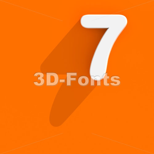 Flat design number 7 - 3d digit - 3d-fonts