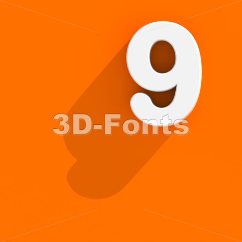 Flat design number 9 - 3d digit - 3d-fonts