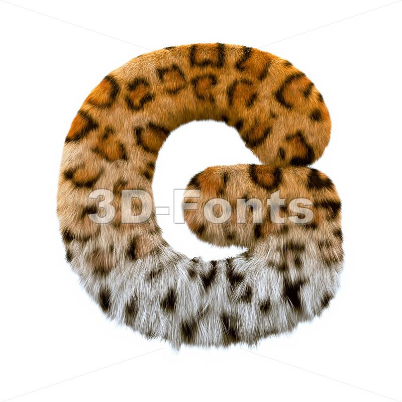 Upper-case jaguar character G - Capital 3d font - 3d-fonts