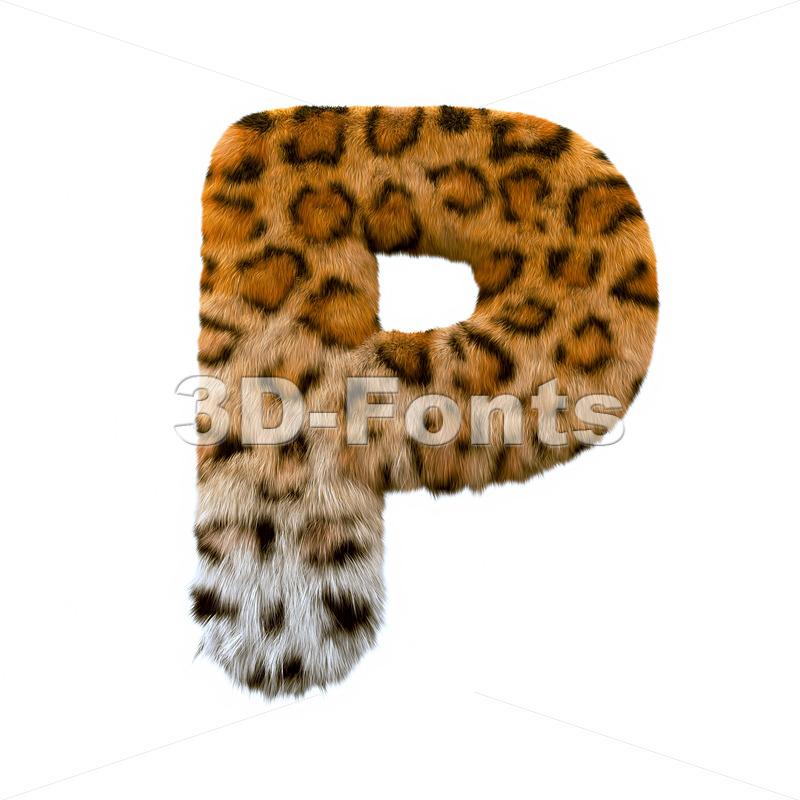 Upper-case leopard coat character P - Capital 3d font - 3d-fonts