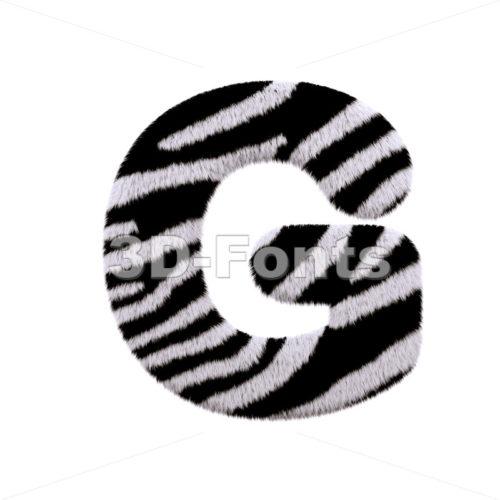 Upper-case zebra fur character G - Capital 3d font - 3d-fonts