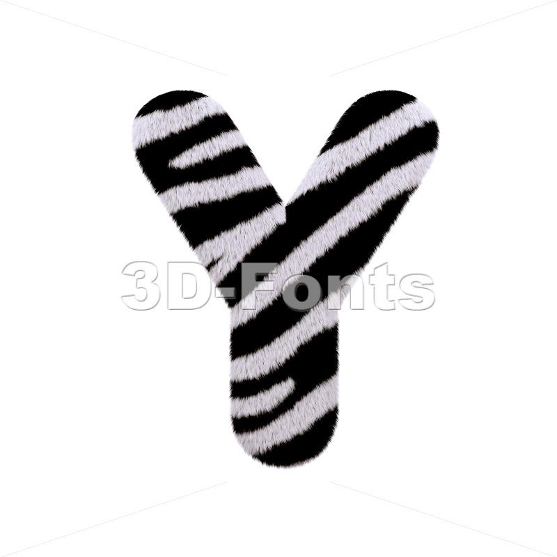 Upper-case zebra fur font Y - Capital 3d character - 3d-fonts