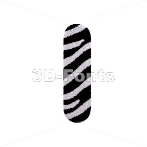 Uppercase zebra font I - Capital 3d letter - 3d-fonts