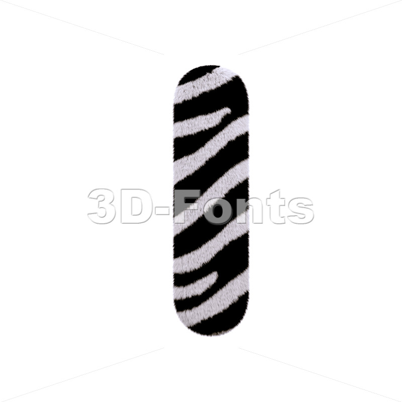 Uppercase zebra font I - Capital 3d letter - 3d-fonts