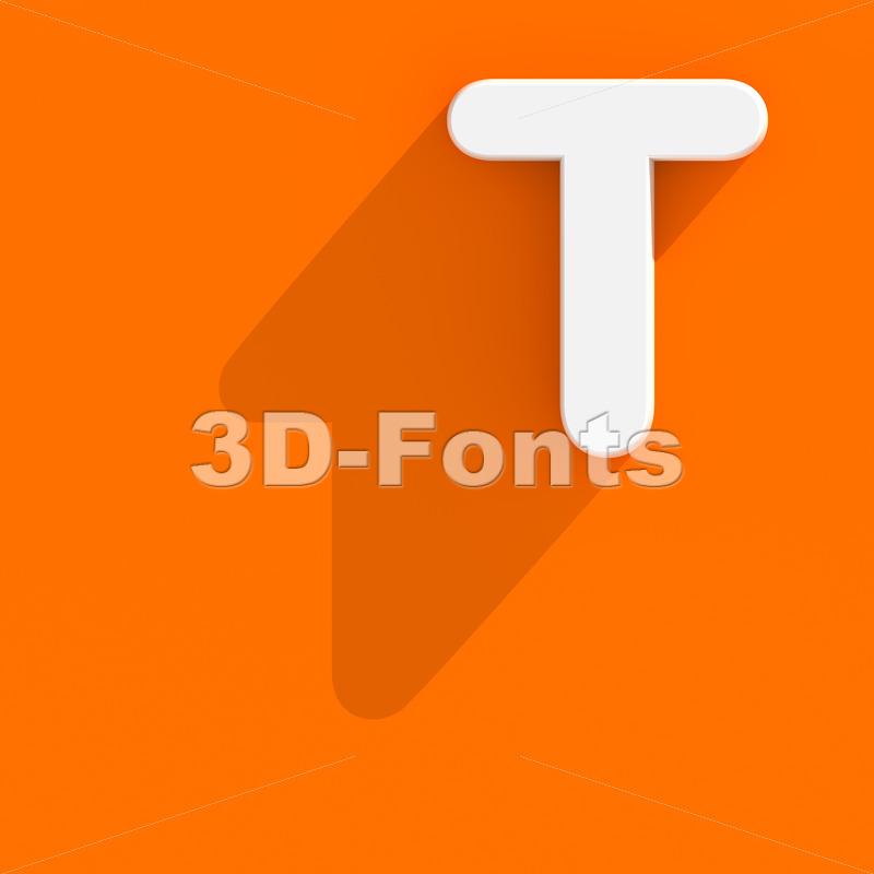 flat character T - Uppercase 3d letter - 3d-fonts
