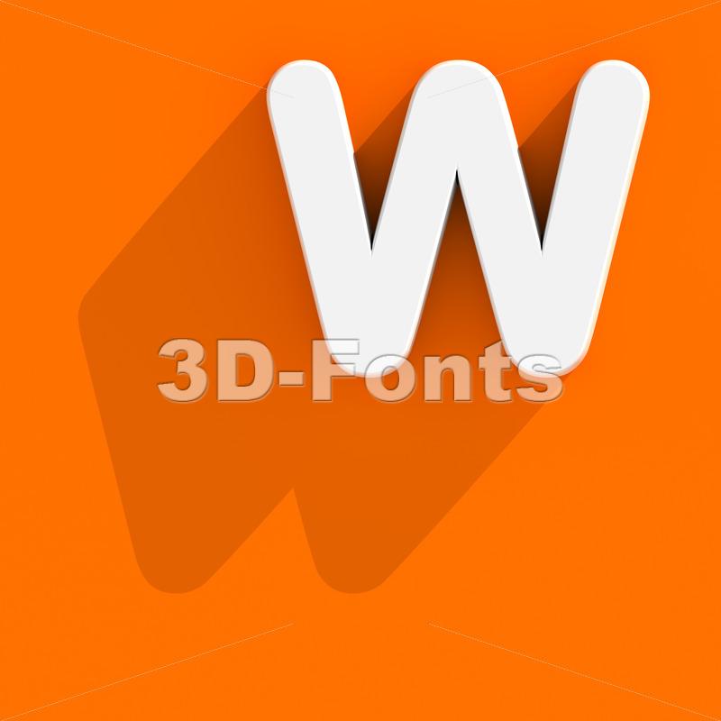 flat font W - Capital 3d letter - 3d-fonts