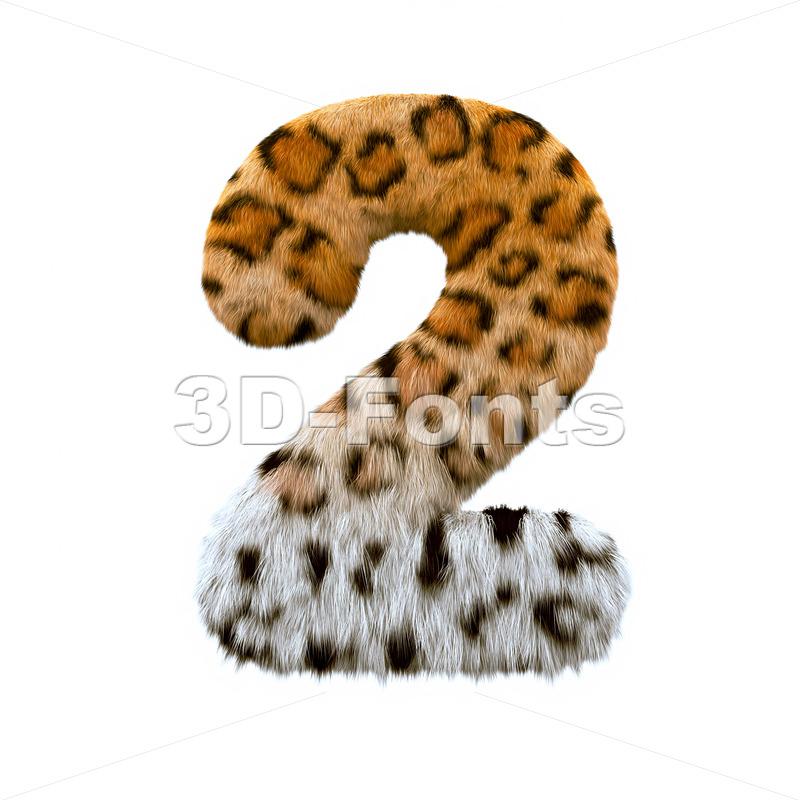 jaguar digit 2 - 3d number - 3d-fonts