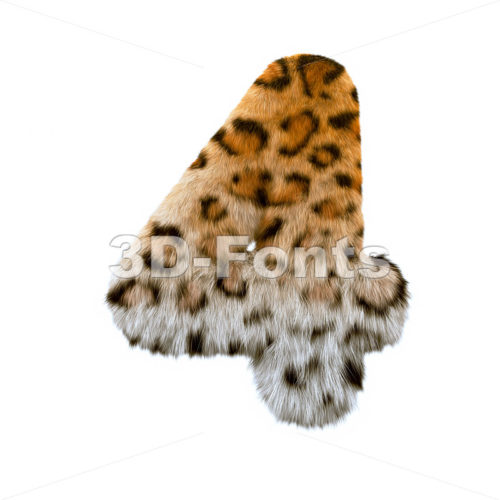 jaguar digit 4 - 3d number - 3d-fonts
