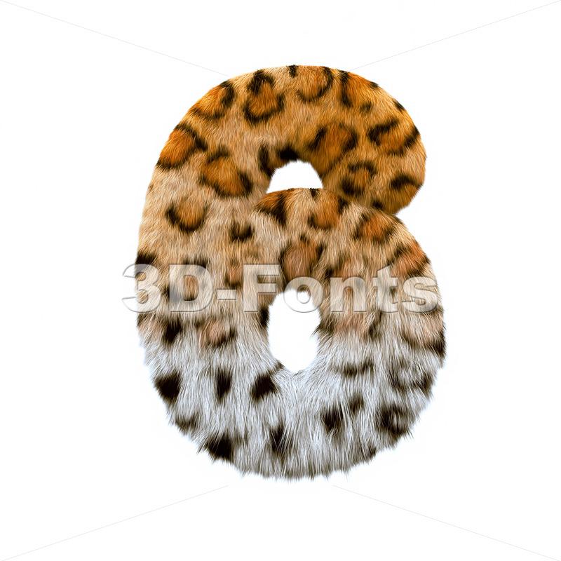 jaguar digit 6 - 3d number - 3d-fonts