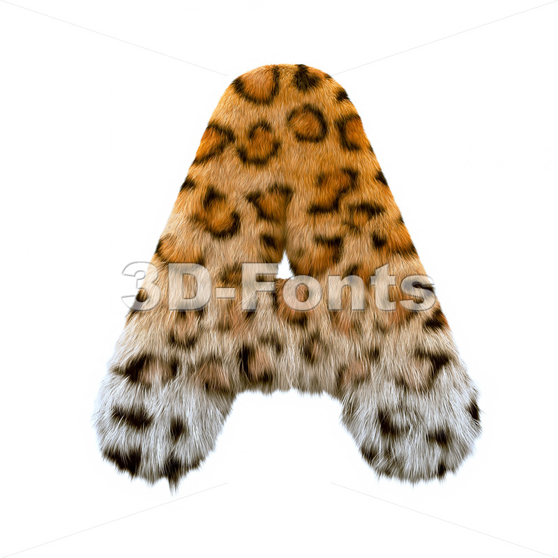 jaguar fur letter A - Capital 3d character - 3d-fonts