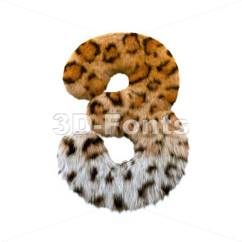 jaguar number 3 - 3d digit - 3d-fonts
