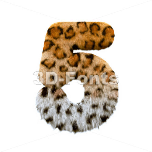jaguar number 5 - 3d digit - 3d-fonts