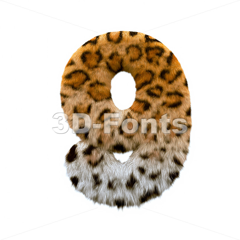 jaguar number 9 - 3d digit - 3d-fonts