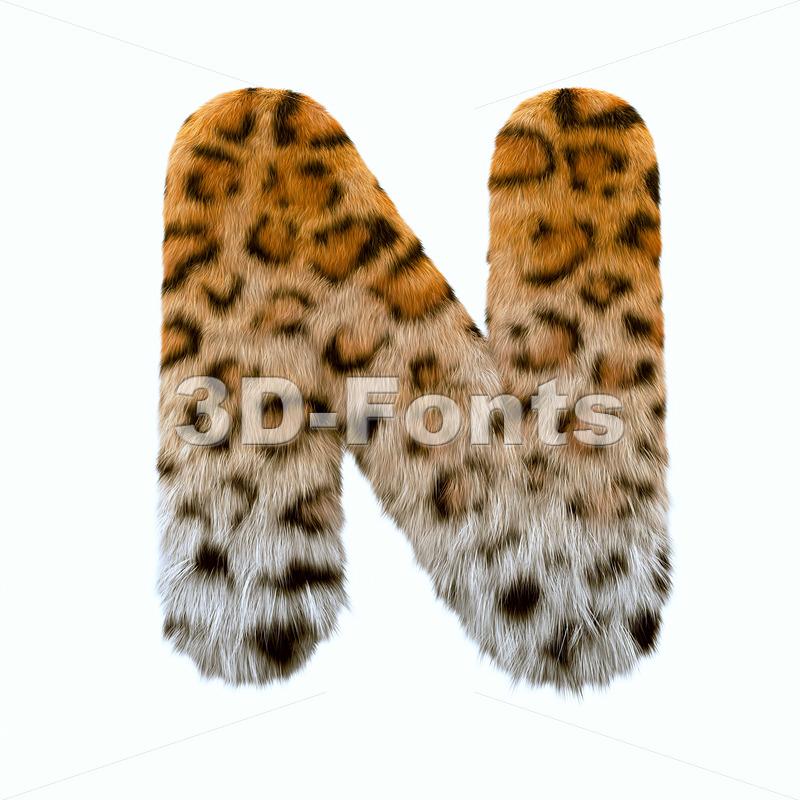 leopard font N - Capital 3d letter - 3d-fonts