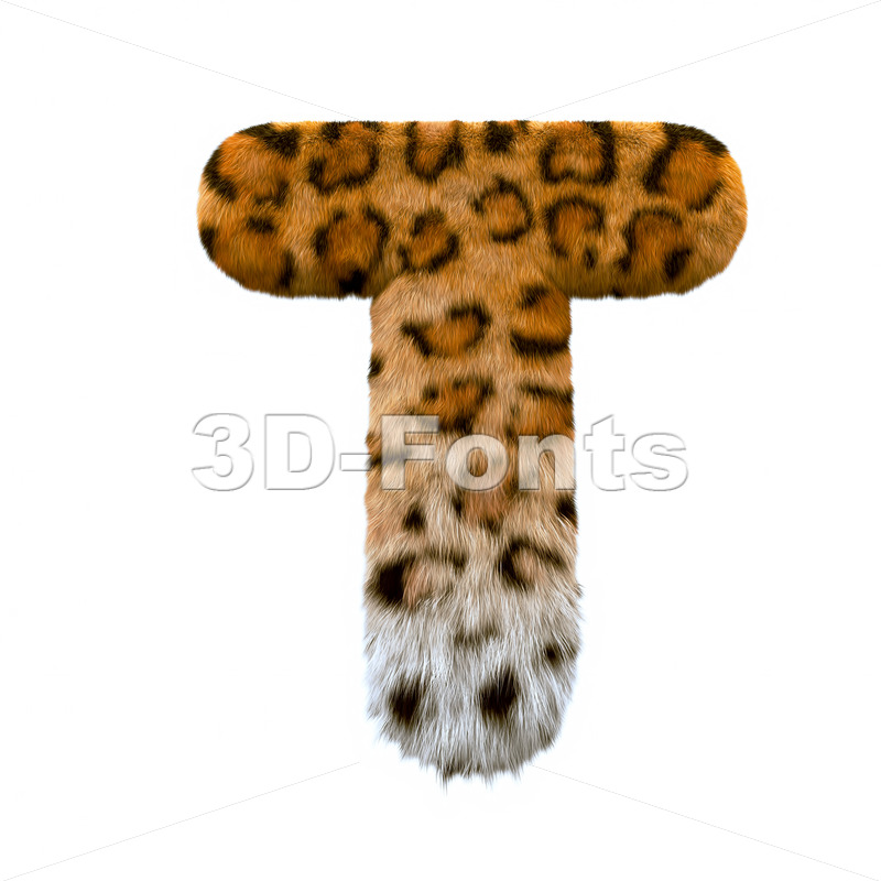 panther character T - Uppercase 3d letter - 3d-fonts