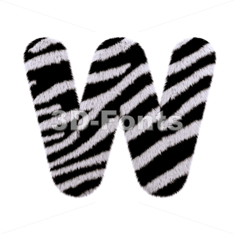 zebra coat font W - Capital 3d letter - 3d-fonts