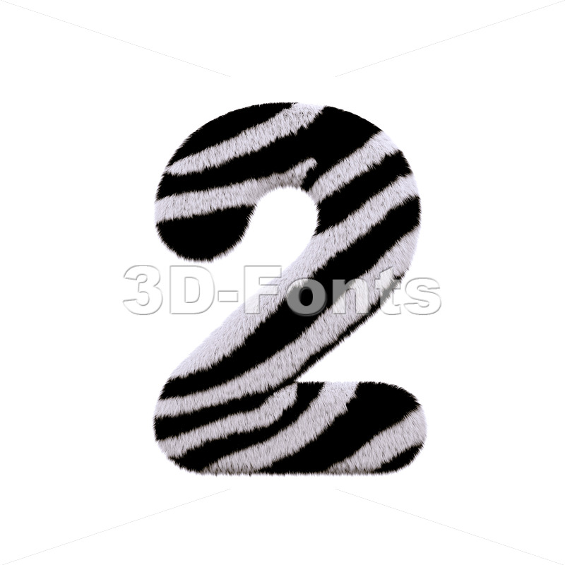 zebra digit 2 - 3d number - 3d-fonts