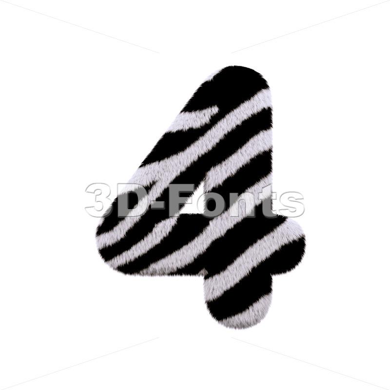 zebra digit 4 - 3d number - 3d-fonts