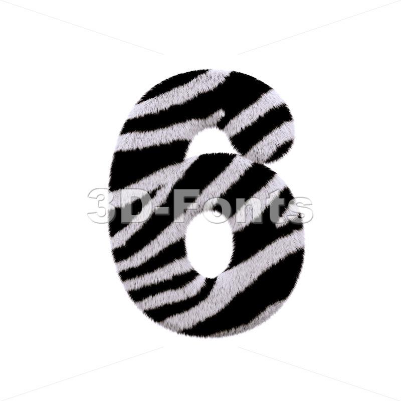 zebra digit 6 - 3d number - 3d-fonts