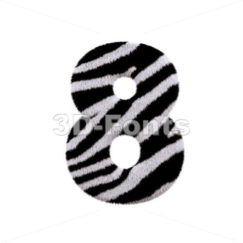 zebra digit 8 - 3d number - 3d-fonts
