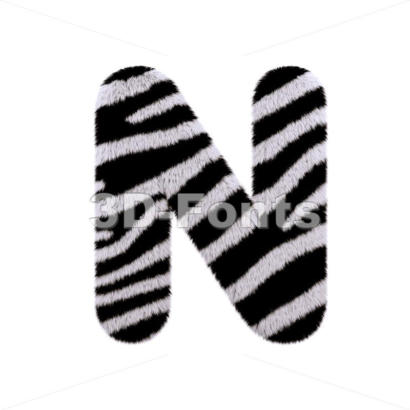 zebra font N - Capital 3d letter - 3d-fonts