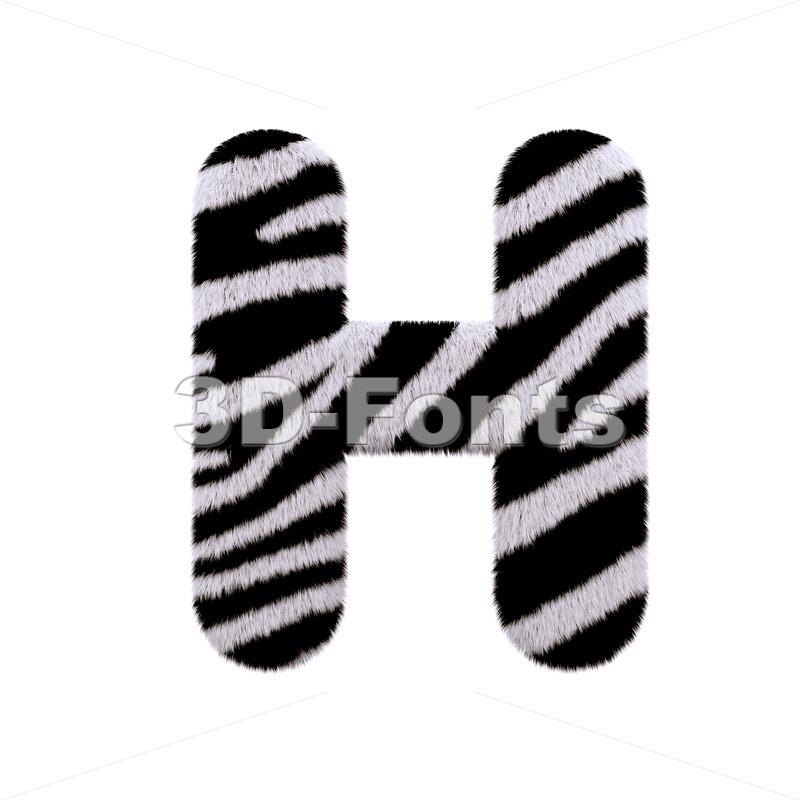 zebra fur 3d letter H - Upper-case 3d character - 3d-fonts