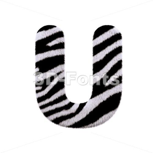 zebra fur 3d letter U - Capital 3d font - 3d-fonts