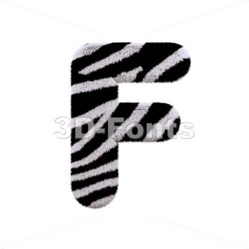 zebra fur letter F - Upper-case 3d font - 3d-fonts