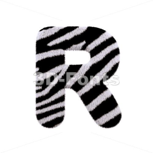 zebra letter R - Uppercase 3d font - 3d-fonts