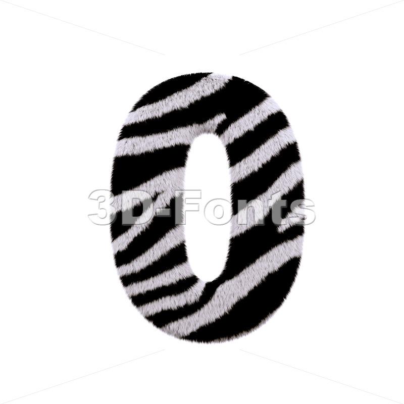 zebra number 0 - 3d digit - 3d-fonts