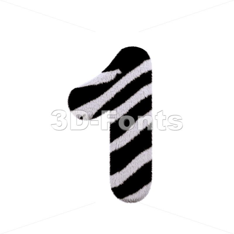 zebra number 1 - 3d digit - 3d-fonts
