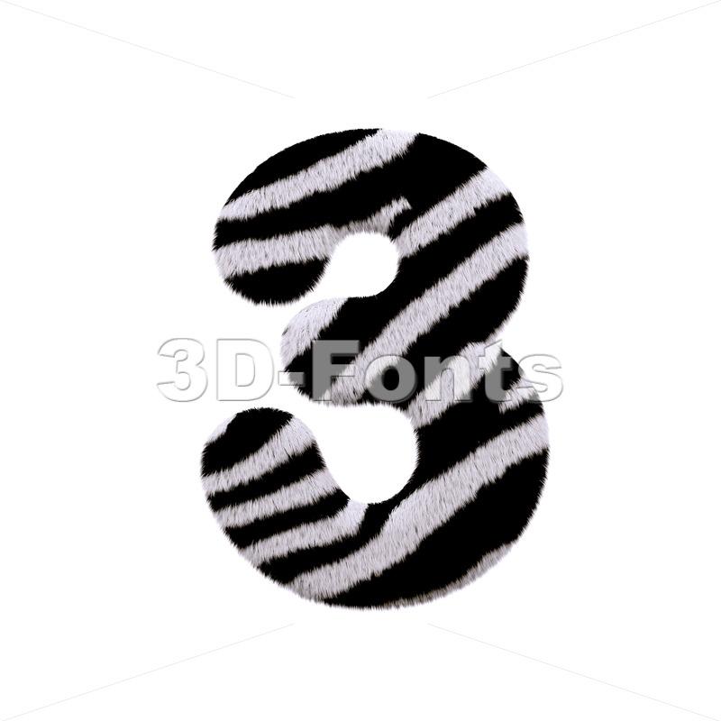 zebra number 3 - 3d digit - 3d-fonts