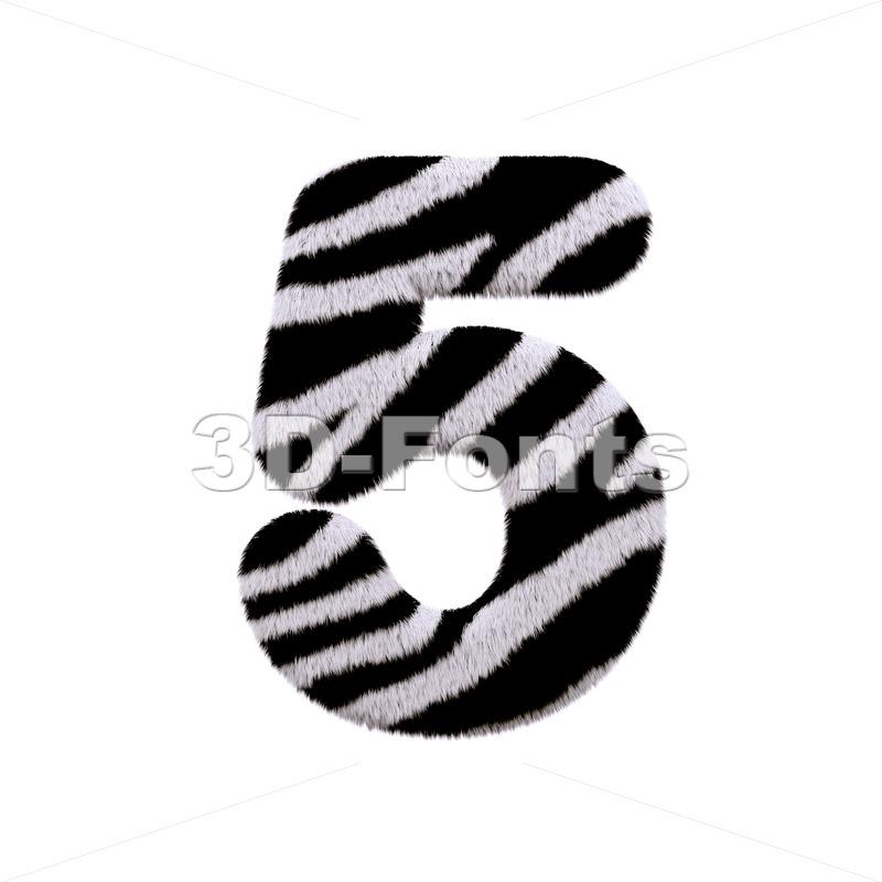 zebra number 5 - 3d digit - 3d-fonts