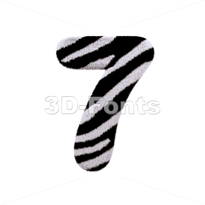 zebra number 7 - 3d digit - 3d-fonts